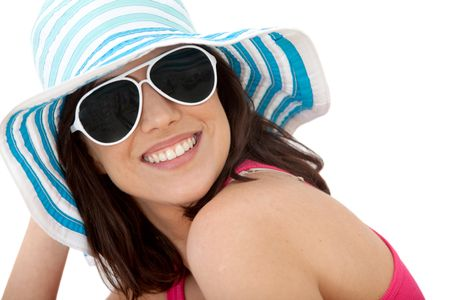 Summery woman portrait wearing hat and sunglasses - isolated over white