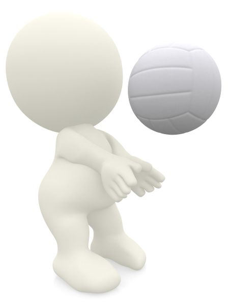 3D volleyball player isolated over a white background