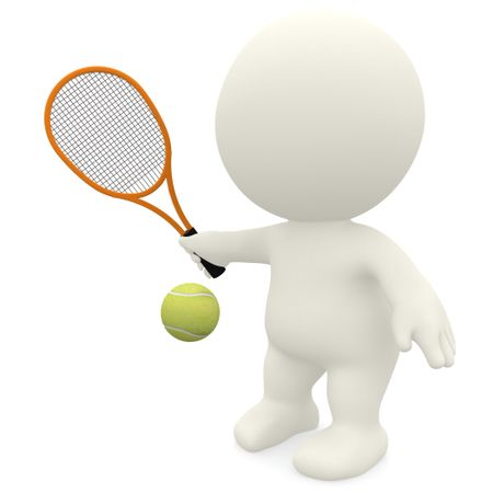 3D Tennis player hitting the ball isolated over a white background