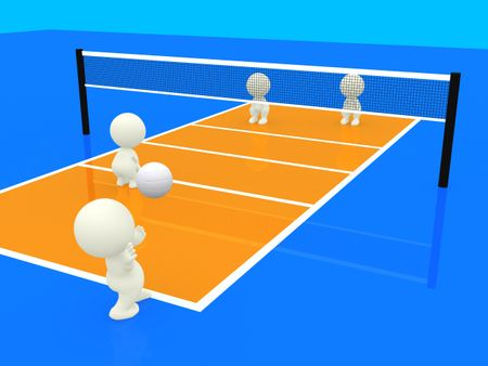3D people playing volleyball doubles match on an orange court