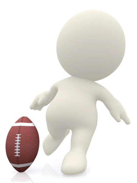 3D man about to kick a football ball isolated over a white background