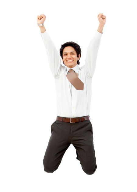 Successful business man jumping isolated over a white background
