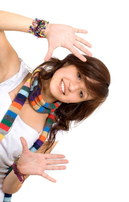 funky girl doing a handframe over a white background