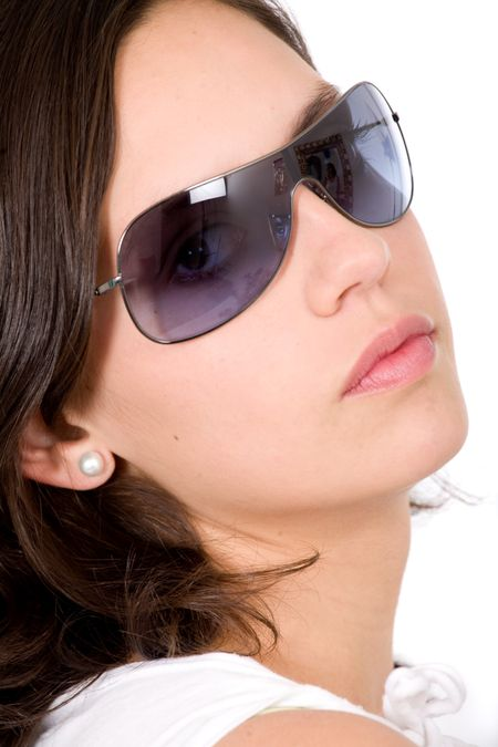 fashion woman portrait with sunglasses over a white background