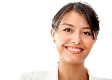 Friendly business woman portrait smiling isolated over a white ...