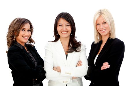 Group of business women smiling isolated over a white background