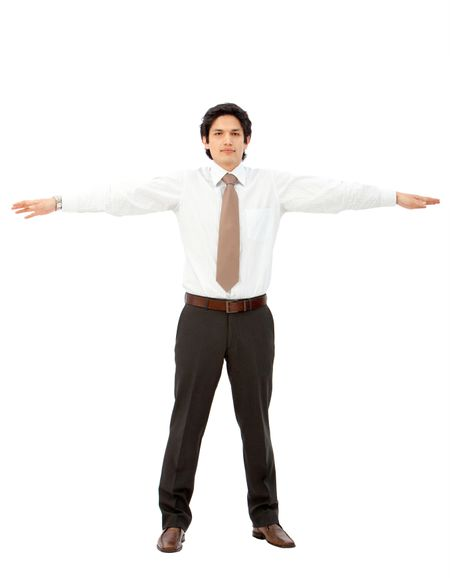 Business man with arms outstretched isolated over a white background