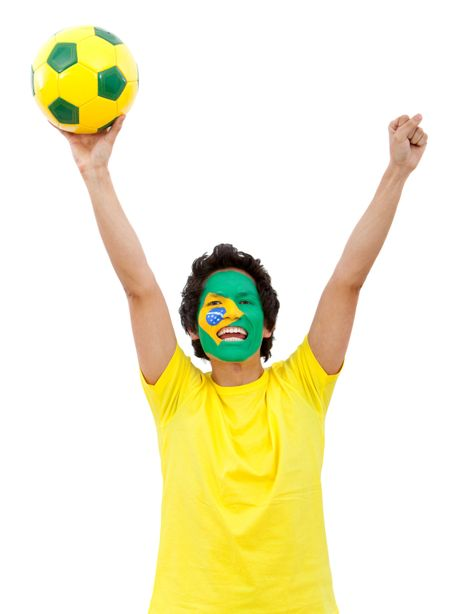 Brazilian football fan with the flag painted on his face - isolated over white