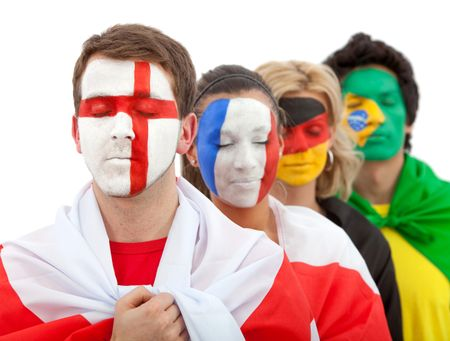 Patriotic group of people with flags painted on their faces