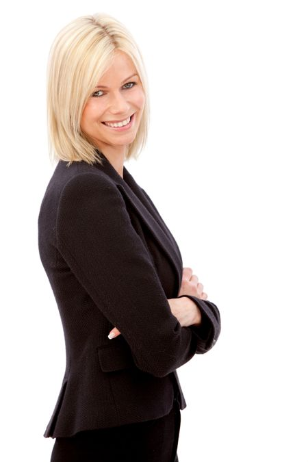 confident business woman smiling isolated over a white background