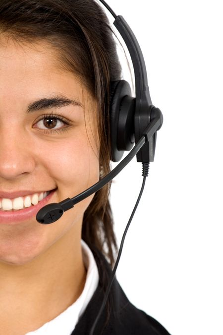 customer service girl smiling with hand on headset - isolated over a white background