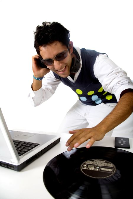 disc jockey in action isolated over a white background