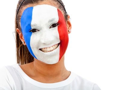 Portrait of a woman with the French flag painted on her face - over a white background