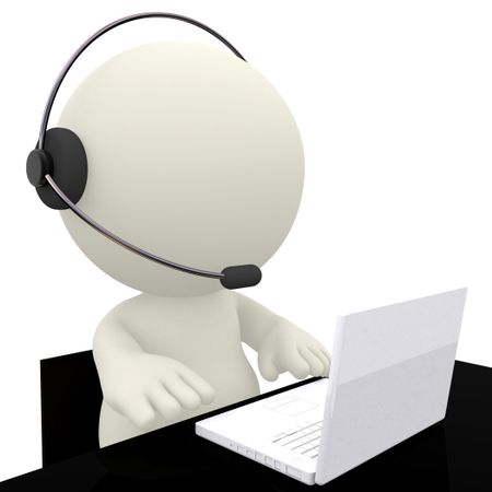 Call center operator sitting at his desk - isolated over a white background
