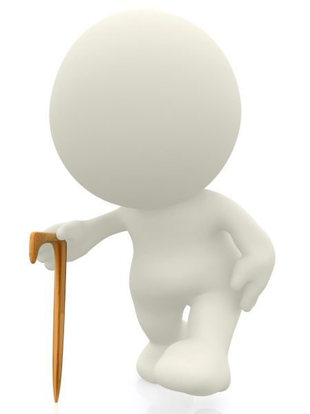 3D Person walking with a stick isolated over a white background