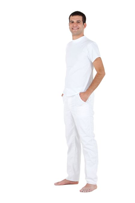 Fullbody man standing wearing white clothes - isolated