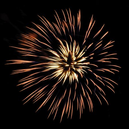 Burst of yellowish and reddish fireworks, with feathery interior and thin blue streaks, on square background
