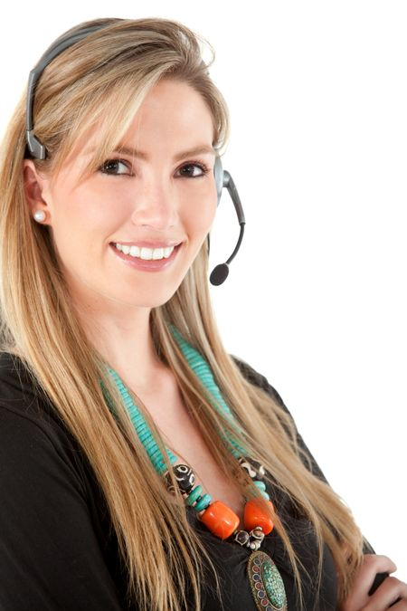 female customer support operator smiling - isolated over a white background