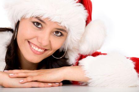 beautiful female santa portrait smiling looking forward to christmas