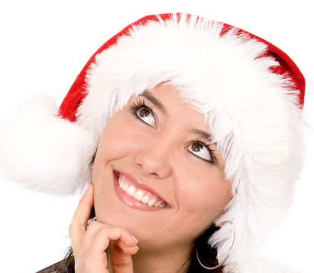 beautiful female santa portrait smiling looking forward to christmas with great expectations