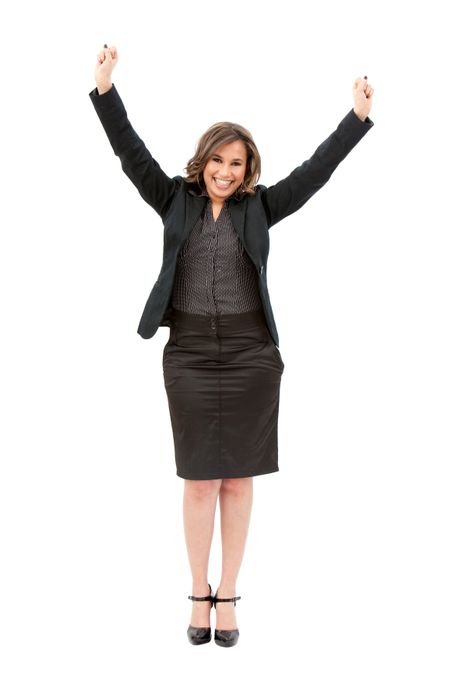 Successful business woman with arms up - isolated white background