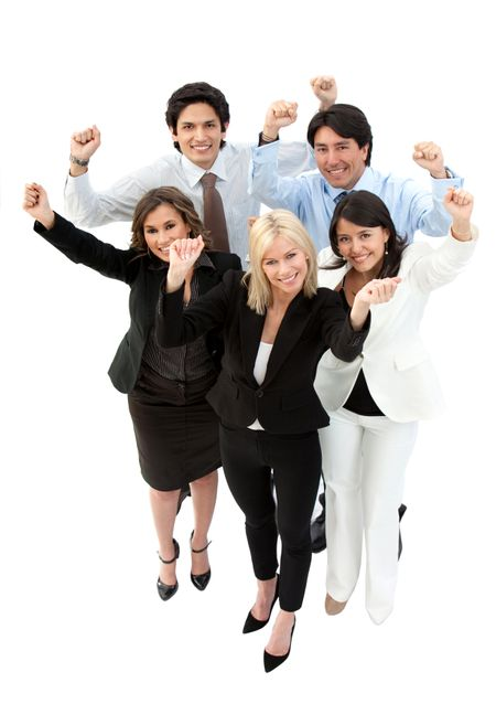 Successful business team with arms up - isolated over a white background
