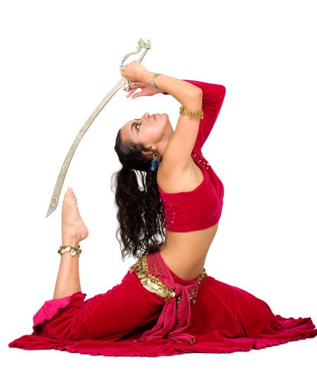 arabic dancer with a metal sword isolated over a white background