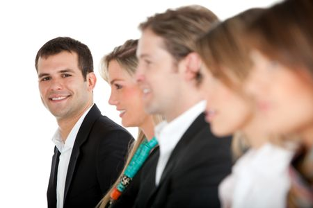 Group of business people in a row - isolated over a white background