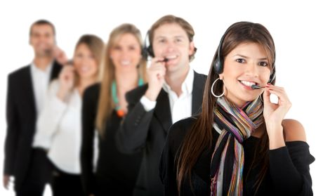 Group of customer support operators - isolated over a white background