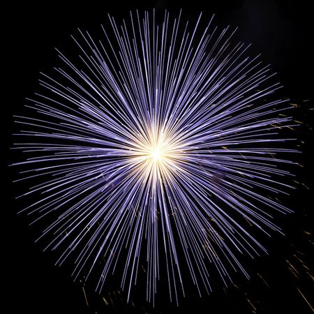 Burst of blue fireworks with white-hot core, in square format