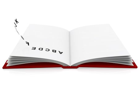 Open book with the letters of the alphabet flying around - isolated over a white background