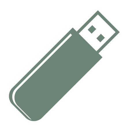 Vector Illustration of Green Pen Drive Icon