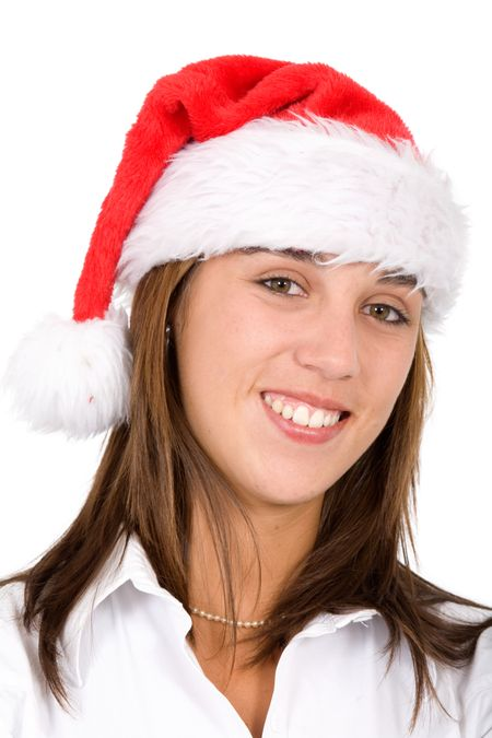 female santa portrait smiling isolated over a white background