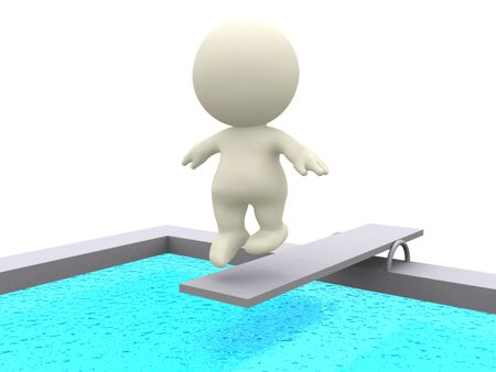 3D person jumping to the pool from a trampoline