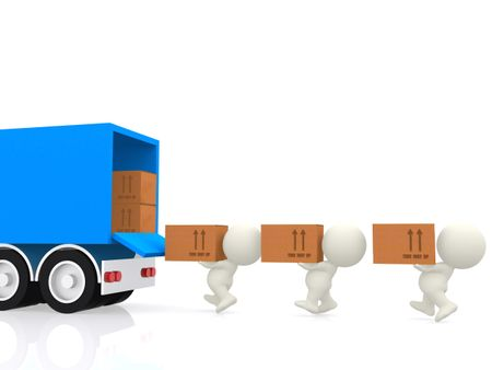 3D people carrying cardboard boxes to a truck - isolated over a white background