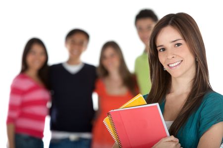 Female student with a group, holding notebooks - isolated over white
