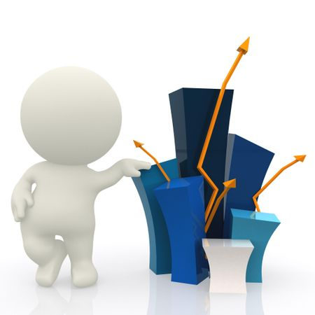 3D guy with a bar graph showing growth - isolated over white