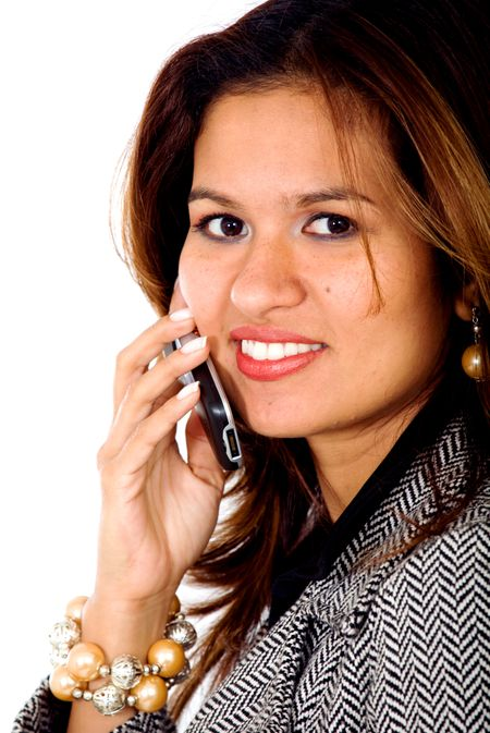 business woman on the phone smiling isolated over a white background