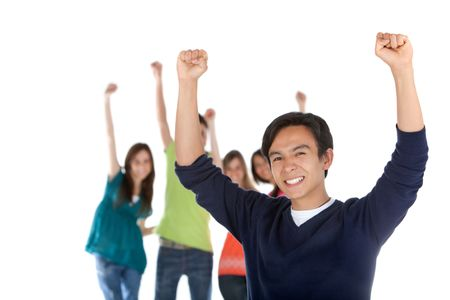 Happy man with a group and arms up - isolated over a white background