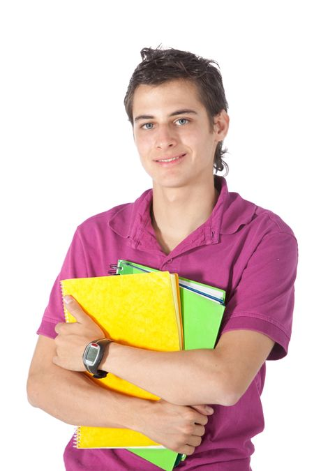 Male student holding some notebooks - isolated over a white background