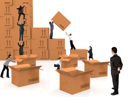 group of business people piling up boxes - isolated over a white background