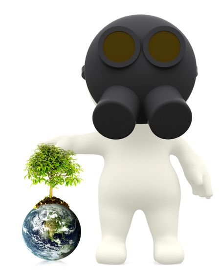 3D guy wearing a gas mask next to the earth - environment concepts