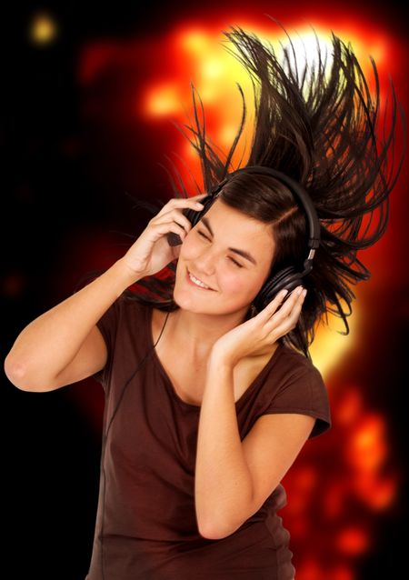 girl listening to music looking happy in a disco