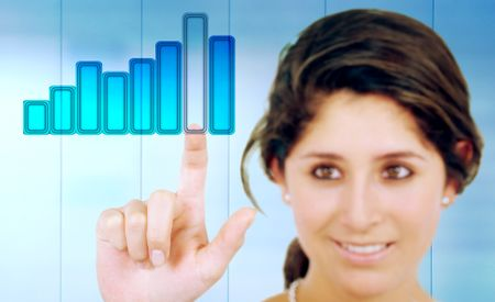 businesswoman touching a business chart on the screen