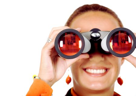 business woman searching for a job isolated - looking through binoculars
