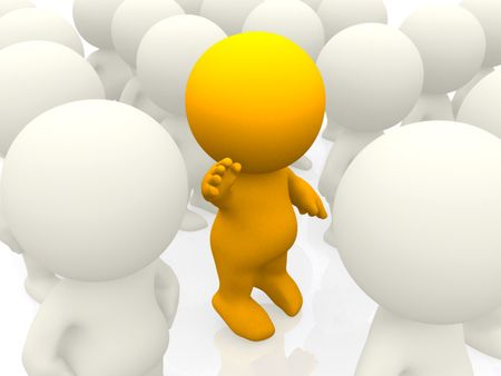3D person standing out in a crowd - isolated over a white background