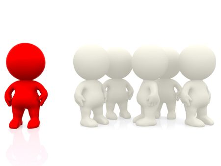 3d person standing out from crowd isolated over a white background