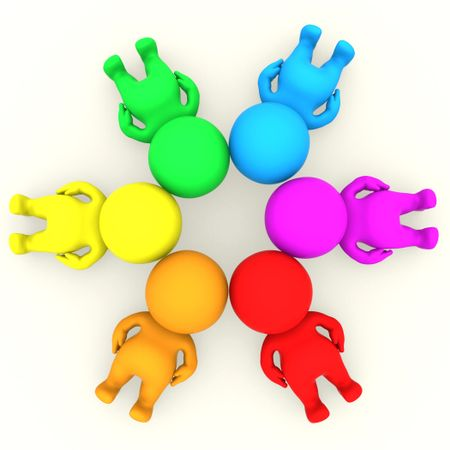 Group of 3D colourful people making a circle with their heads together on the floor - isolated over white