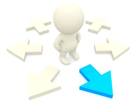 3D person making the right choice isolated over a white background