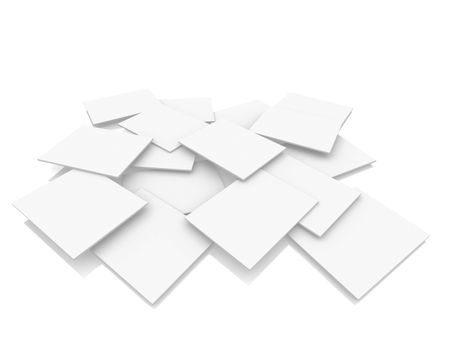 3d overlapping rectangles on the floor isolated over a white background